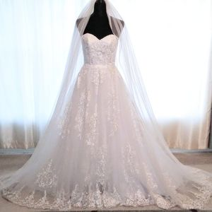 White Strapless Lace Ballgown Wedding Dress Sz 6